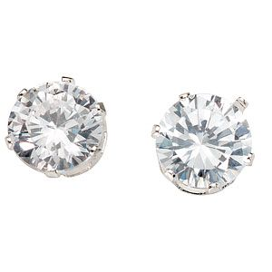 Silver Round Cubic Zirconia Stud Earrings - Product number 4900588