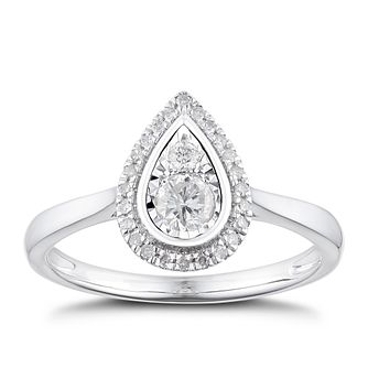 9ct White Gold 1/4ct Diamond Pear Halo Ring - Product number 4900812