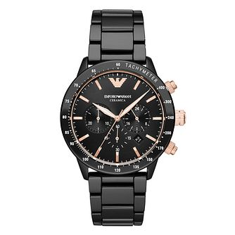 Emporio Armani Men's Black Ceramic Bracelet Watch - Product number 4901193