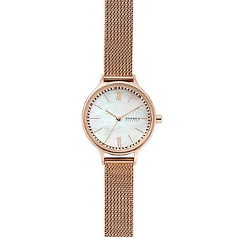 Skagen Anita Rose Gold Tone Mother of Pearl Bracelet Watch - Product number 4901290