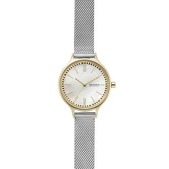 Skagen Anita Two Tone Mother of Pearl Mesh Bracelet Watch - Product number 4901304