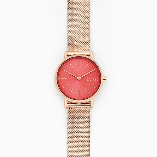 Skagen Signatur Rose Gold Tone Pink Mesh Bracelet Watch - Product number 4901339