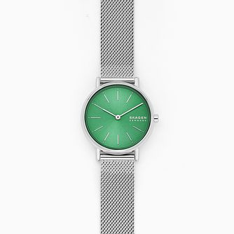 Skagen Signatur Stainless Steel Green Mesh Bracelet Watch - Product number 4901398