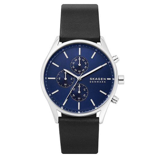 Skagen Holst Men's Chronograph Navy Lather Strap Watch - Product number 4901428