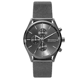 Skagen Holst Men's Chronograph Grey Mesh Bracelet Watch - Product number 4901452