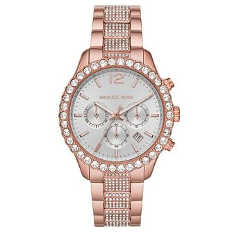 Michael Kors Layton Ladies' Two Tone Crystal Bracelet Watch - Product number 4902866