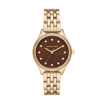 Michael Kors Lexington Yellow Gold Tone Crystal Watch - Product number 4903064