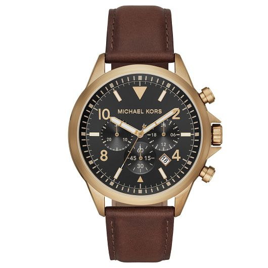 Michael Kors Gage Chronograph Brown Leather Strap Watch - Product number 4903196