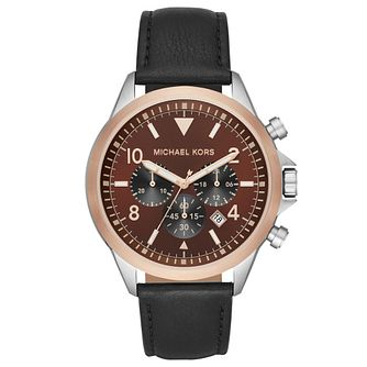 Michael Kors Gage Men's Black Leather Strap Watch - Product number 4903218