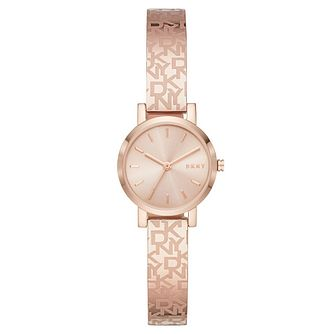 DKNY Soho Ladies' Logo Rose Gold Tone Bangle Bracelet Watch - Product number 4903471