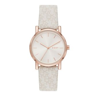 DKNY Soho Ladies' Nude Logo Patterned Fabric Strap Watch - Product number 4903498