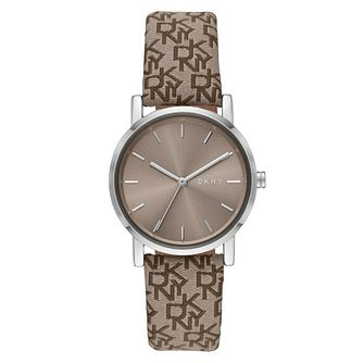 DKNY Soho Ladies' Brown Logo Patterned Fabric Strap Watch - Product number 4903536