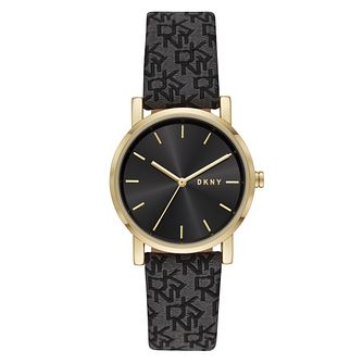 DKNY Soho Ladies' Black Logo Patterned Fabric Strap Watch - Product number 4903544