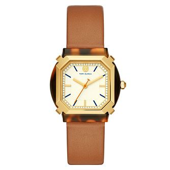 Tory Burch Blake Octagonal Brown Leather StrapWatch - Product number 4903625