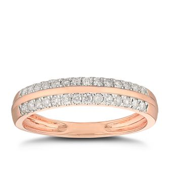 9ct Rose Gold 1/4ct Diamond 2 Rows Wedding Ring - Product number 4903722