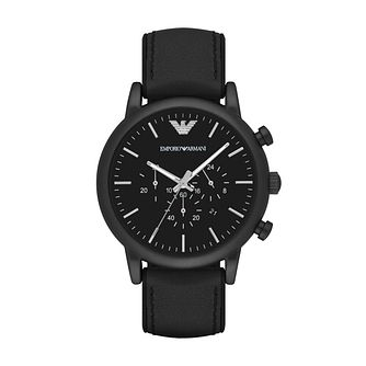 Emporio Armani Men's Ion Plated Black Strap Watch - Product number 4904192