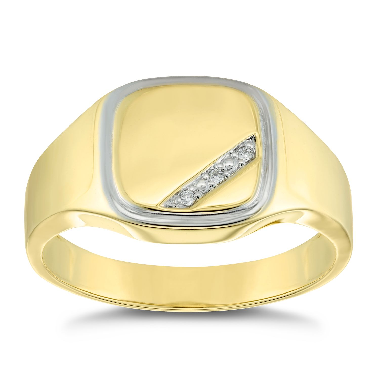 9ct Yellow Gold Diamond Set Square Signet Ring - Product number 4906799
