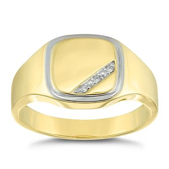 9ct Yellow Gold Diamond Signet Ring - Product number 4906799
