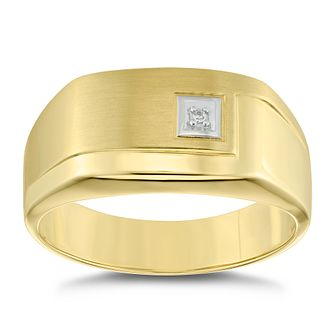 9ct Yellow Gold Diamond Set Oblong Signet Ring - Product number 4907841