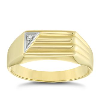 9ct Yellow Gold Diamond Set Rectangular Ridged Signet Ring - Product number 4910095
