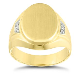 9ct Yellow Gold Diamond Set Oval Signet Ring - Product number 4910729