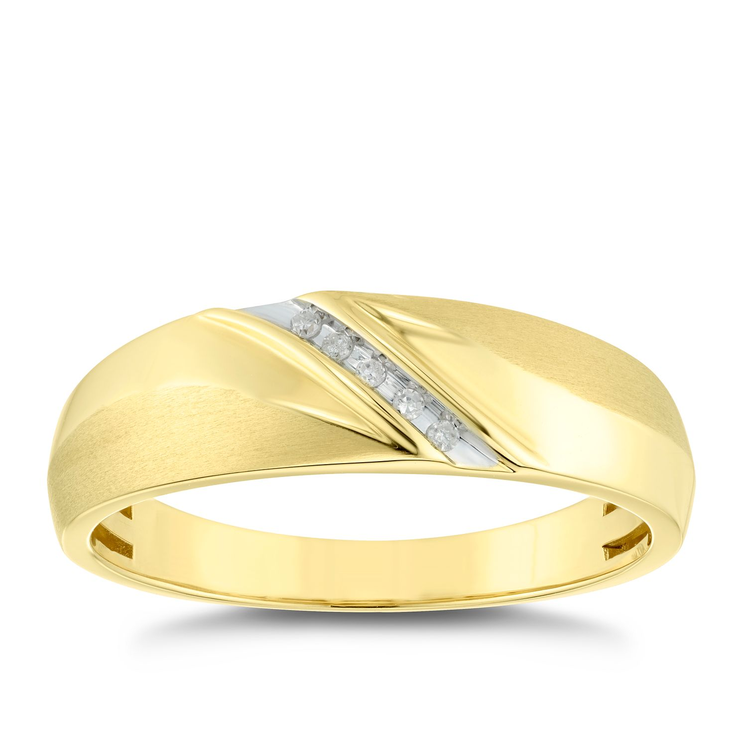 9ct Yellow Gold Men's Diamond Ring - Product number 4910974