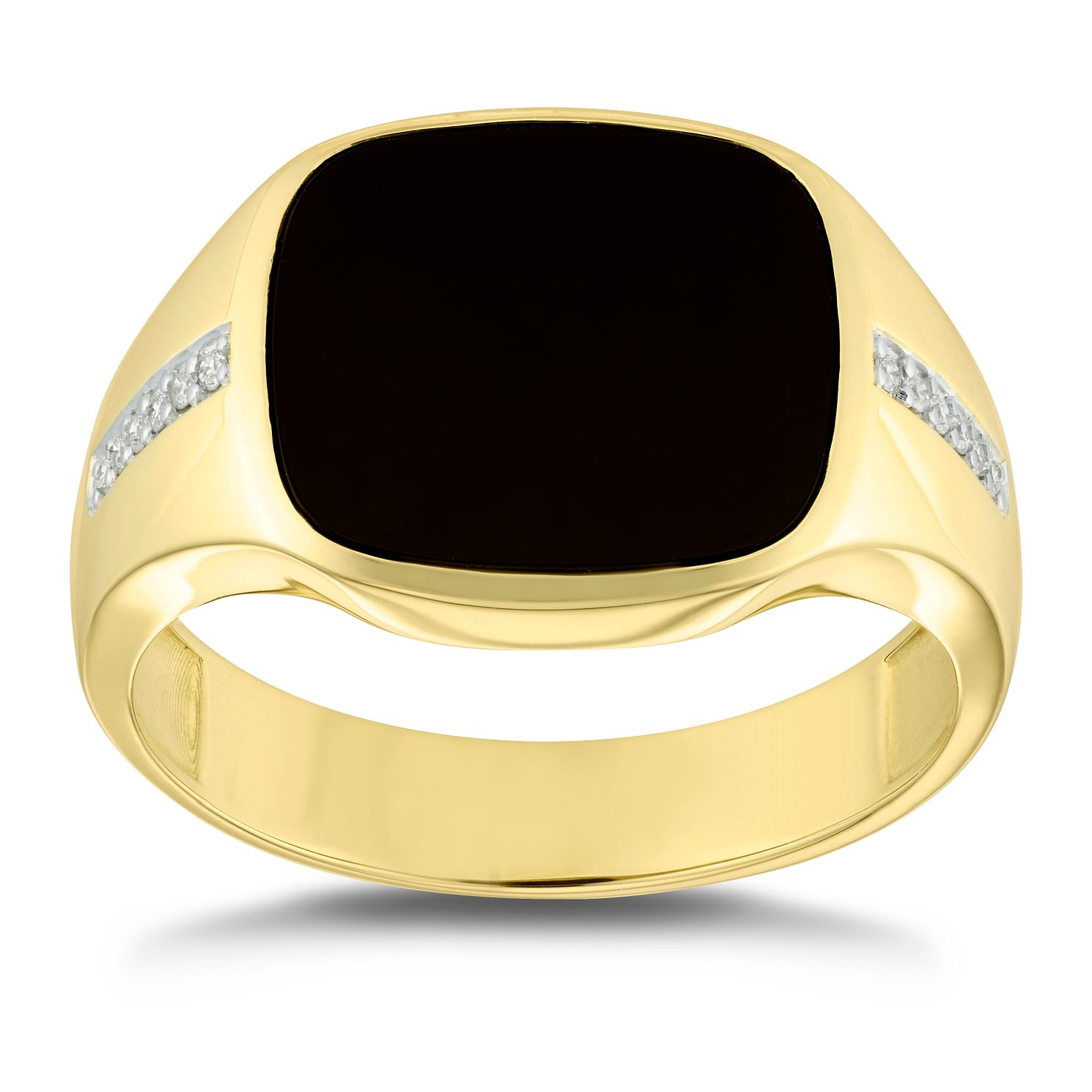 9ct Yellow Gold Diamond Set Onyx Signet Ring - Product number 4911229
