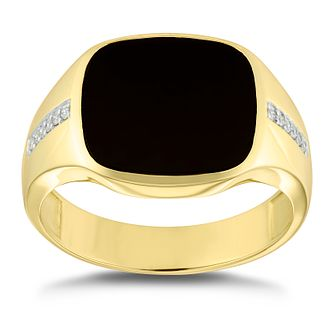 9ct Yellow Gold Diamond & Onyx Signet Ring - Product number 4911229