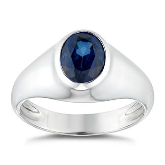 Silver Oval Set Created Sapphire Ring - Product number 4912934