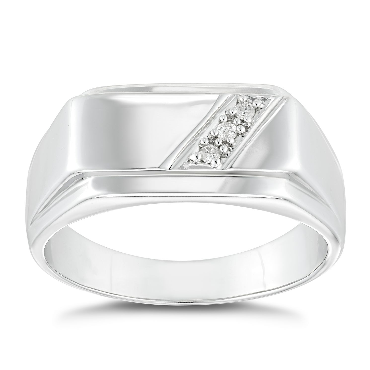 Silver Diamond Set Signet Ring - Product number 4913264