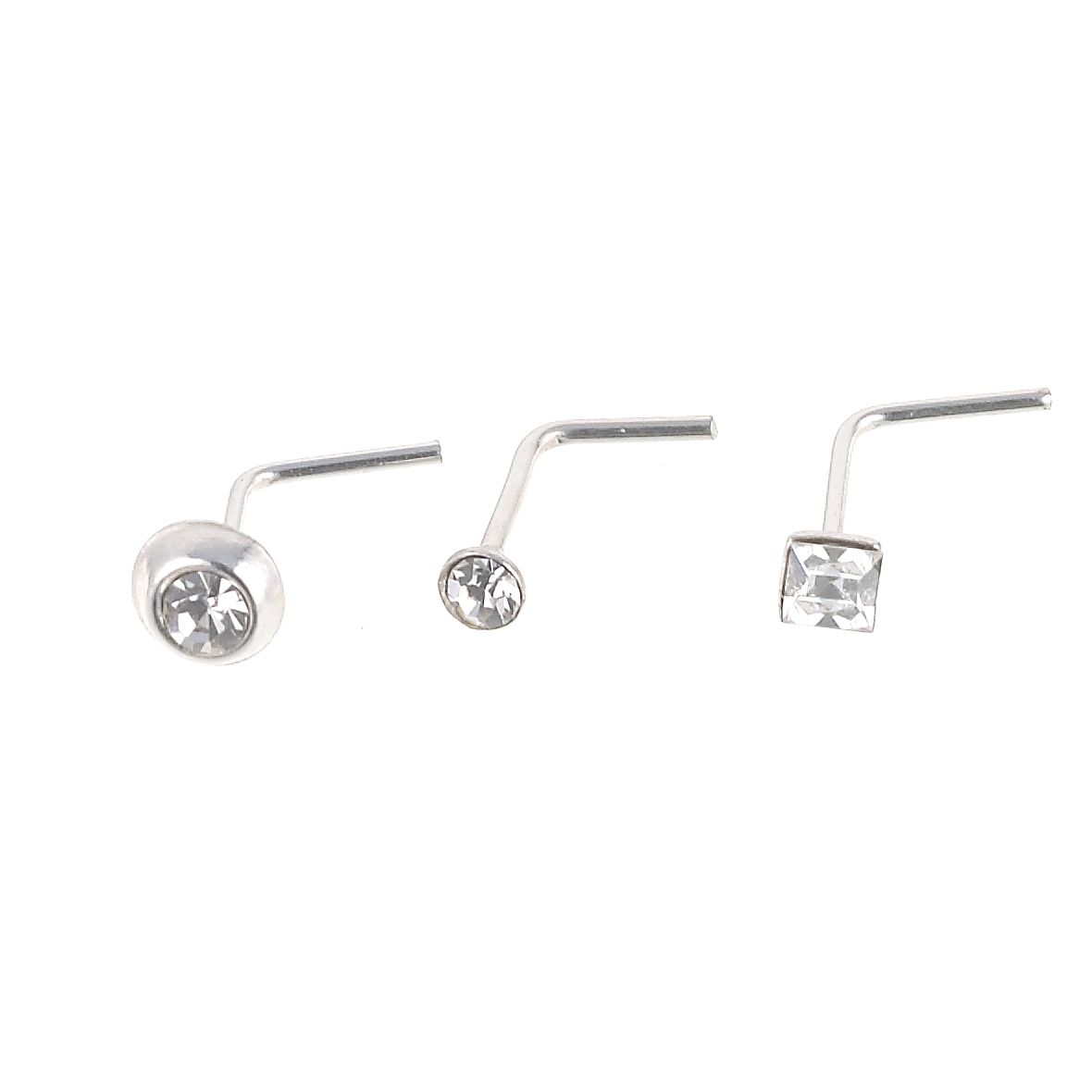 Sterling Silver Crystal Nose Studs Set Of 3 - Product number 4914058