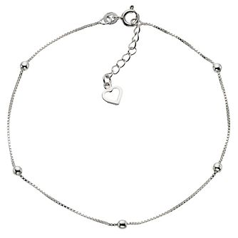 Sterling Silver 9 inches Ball & Heart Anklet - Product number 4914171