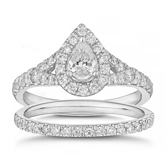 Platinum 1ct Diamond Pear Halo Bridal Set - Product number 4914406