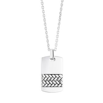 Silver Herringbone Dog tag 20/22 inches Necklace - Product number 4914597