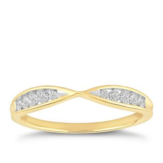 9ct Yellow Gold Illusion Set Diamond Infinity Ring - Product number 4914805