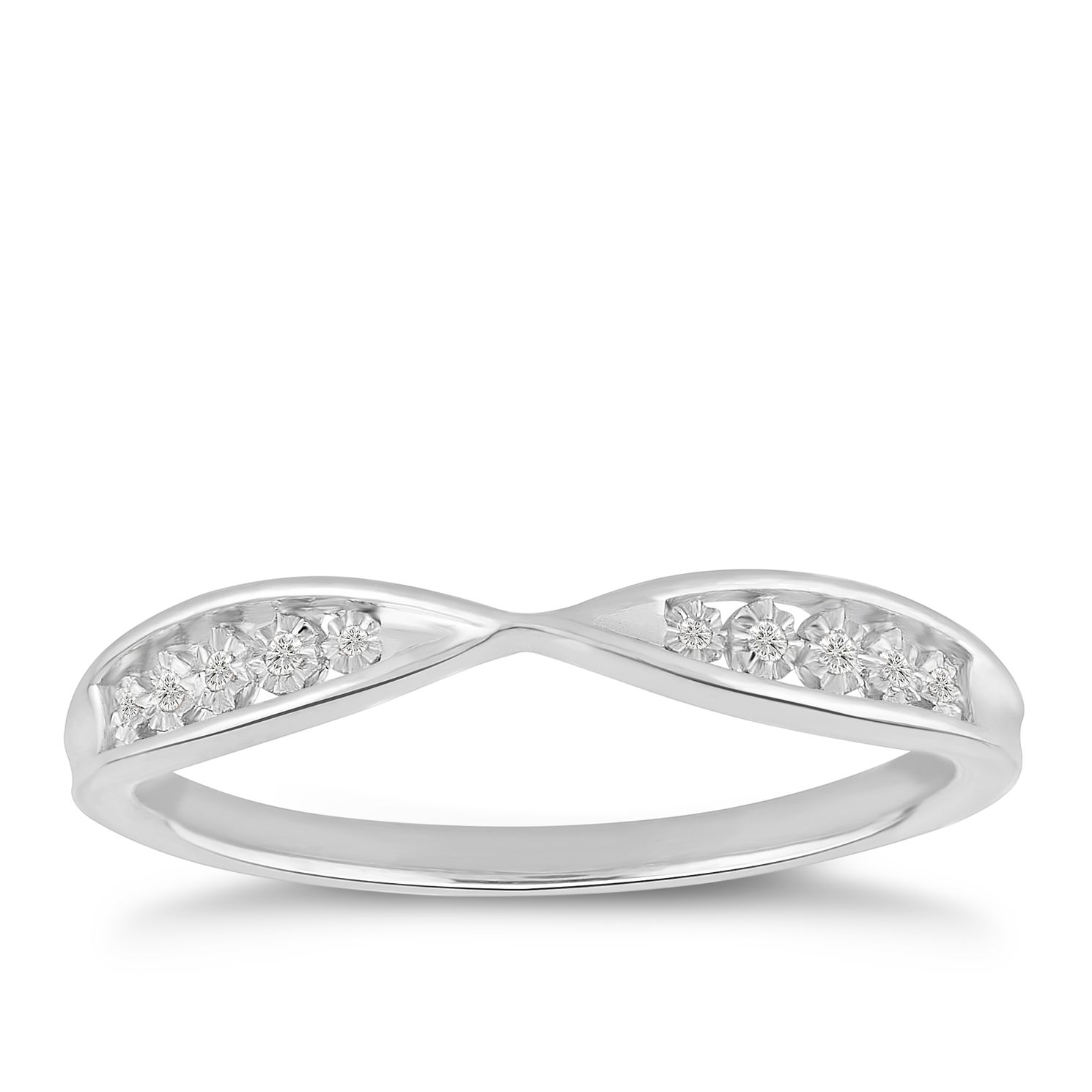9ct White Gold Illusion Set Diamond Infinity Ring - Product number 4915178