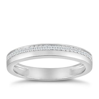 9ct White Gold 1/10ct Diamond Row Ring - Product number 4915569