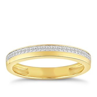 9ct Yellow Gold 1/10ct Diamond Row Ring - Product number 4915720