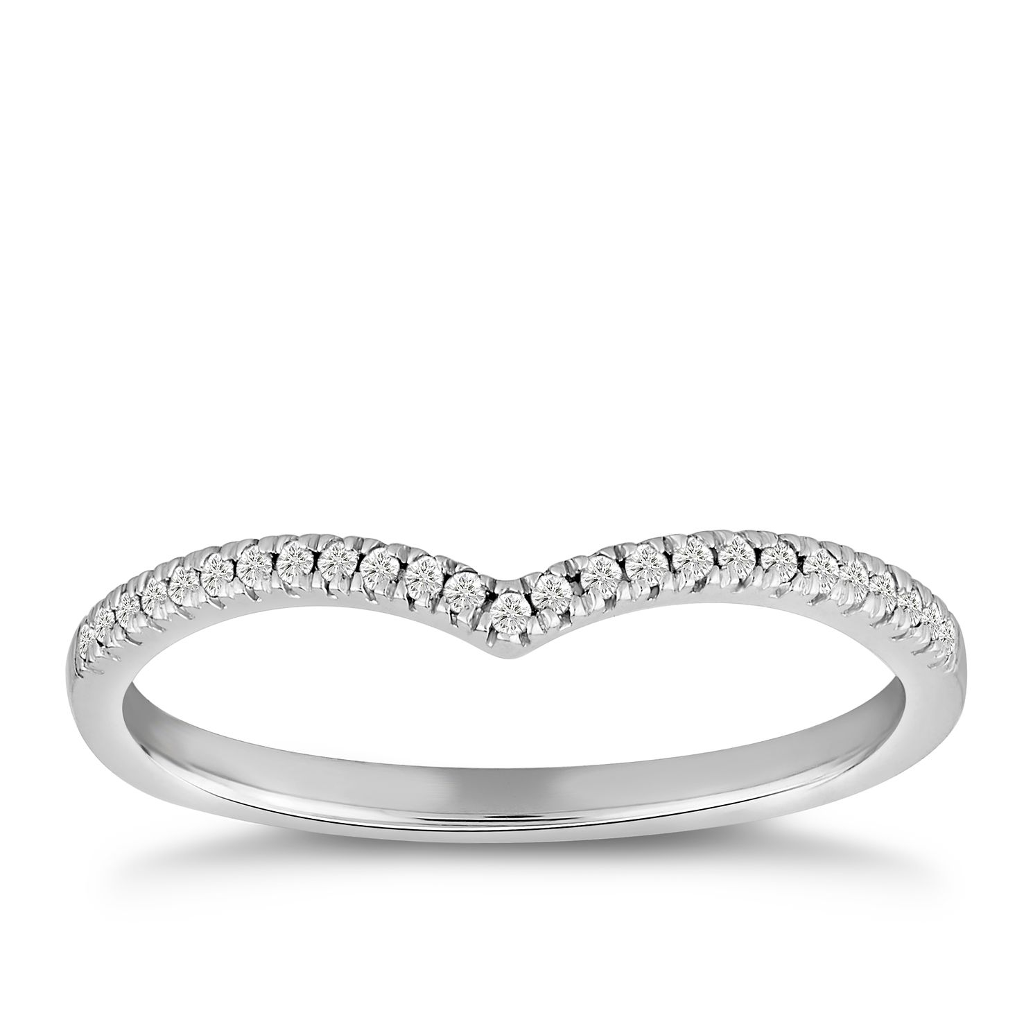 9ct White Gold Diamond Wishbone Shaped Ring - Product number 4915976