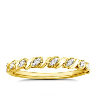 9ct Yellow Gold Diamond Marquise Milgrain Ring - Product number 4917677