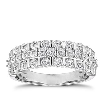 18ct White Gold 1ct Diamond Three Row Ring - Product number 4919130