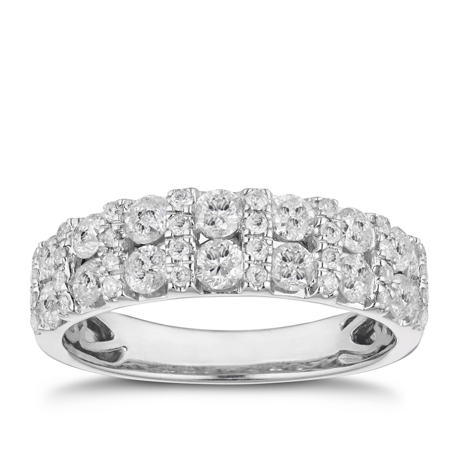 18ct White Gold 1ct Diamond Two Row Ring - Product number 4919289