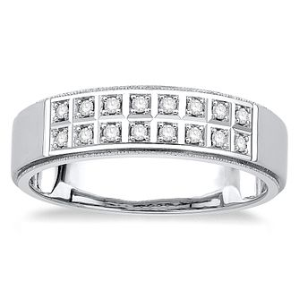 9ct White Gold 0.15ct Diamond Men's Ring - Product number 4919440