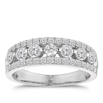 18ct White Gold 1ct Diamond Three Row Ring - Product number 4919491