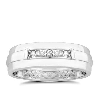 9ct White Gold Diamond Men's Wedding Ring - Product number 4919580