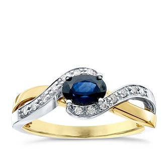 5b22f87c8 9ct Yellow Gold Sapphire and Diamond Ring - Product number 4921542