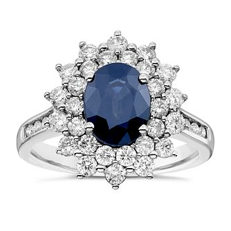18ct White Gold Sapphire and 1ct Diamond Ring - Product number 4922492