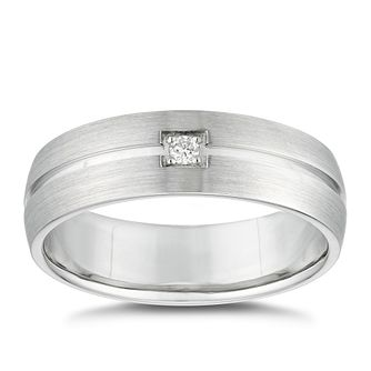 Sterling Silver Solitaire Diamond Grooved Ring - Product number 4923138