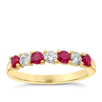 18ct Yellow Gold Ruby & 0.30ct Diamond Eternity Ring - Product number 4924010