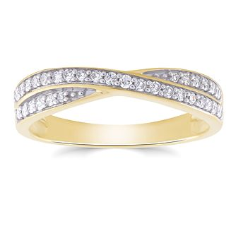 9ct Yellow Gold 1/5ct Diamond Crossover Ring - Product number 4927702